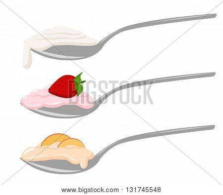 Yogurt with berries. Detailed Vector Icon. Yoghurt or cream on white illustration Yogurt with different additives