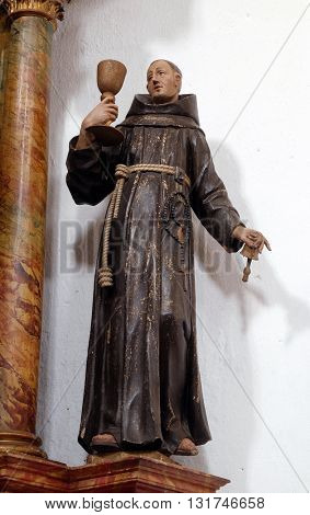KOTARI, CROATIA - SEPTEMBER 16: Statue of Saint Pascal of the Marches on altar of Saint Anthony in the church of Saint Leonard of Noblac in Kotari, Croatia on September 16, 2015.