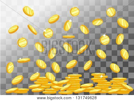 Vector Illustration of flying golden coins. Vector background with falling golden coins. Flat coins stack. Money icons.