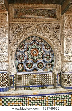 Close-up details of the Najjarin Fountain in the ancient Fes el Bali medina in Fez Morocco