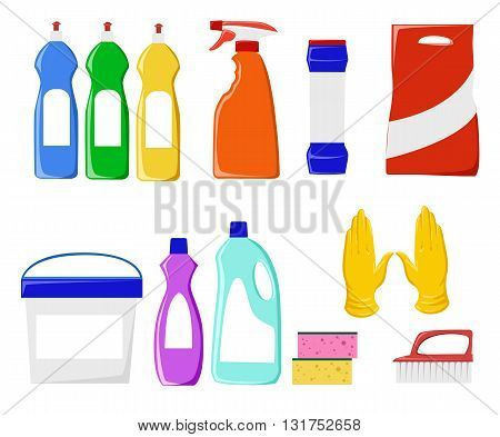 Detergents vector set. Cleaning tools vector set. Detergents for cleaning home. Household supplies and cleaning flat icons