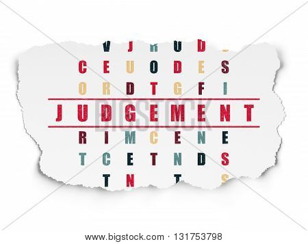 Law concept: Painted red word Judgement in solving Crossword Puzzle on Torn Paper background