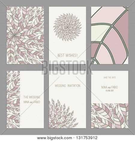 Vector Set of vintage cards templates with floral motifs. Oriental pattern. Wedding invitation сard, thank you card, save the date cards.  RSVP card. Original design of wedding cards. Arabic, Islamic motifs.