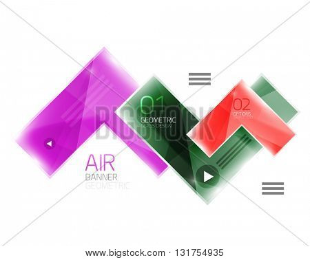 Color glossy glass arrow banner. Vector