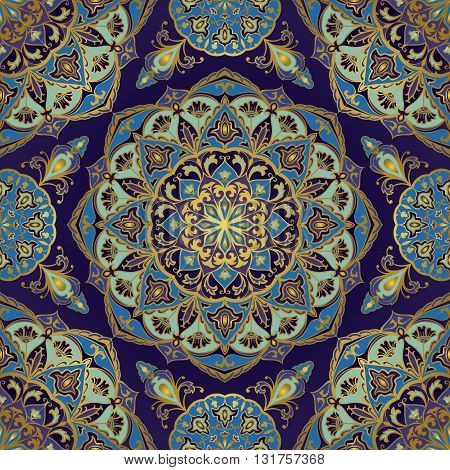 Seamless floral ornamental background. Eastern ornament with golden lines. Template for carpet shawl textile cloth. Stylized mosaic. Oriental bright rich pattern in blue and purple colors.