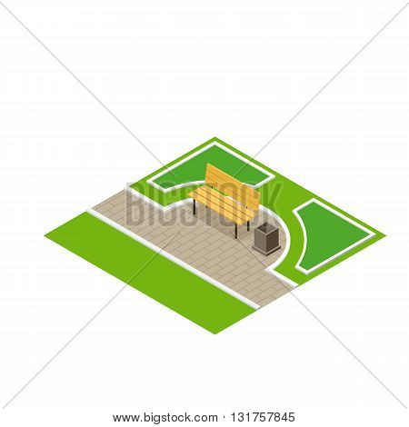 Vector illustration of a park bench with litter bin. Flat 3d isometric park bench and isometric park elements. Park city concept vector isometric