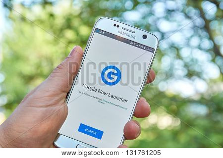 MONTREAL CANADA - MAY 23 2016 : Google Now Launcher application on Samsung S7 screen. Google Now is an intelligent personal assistant developed by Google.