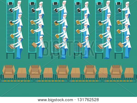Assembly Plant Workers assembles a tablet computer in a routine manner. Editable Clip Art.