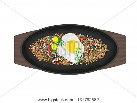Sizzling Sisig made of variety of recipes but topped with egg, spices and calamansi juice. Philippine Cuisine concept. Editable Clip Art.