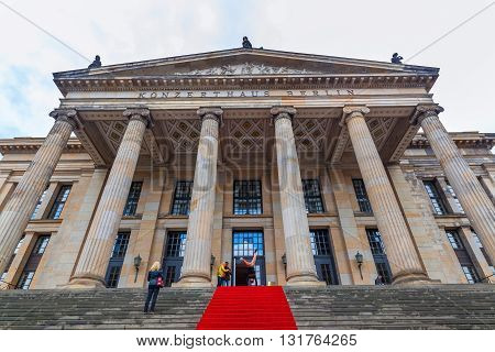 Berlin Germany - May 15 2016: Concert Hall of Berlin with unidentified people. It was built as theatre from 1818 to 1821 by architect Karl Friedrich Schinkel in neoclassicism style