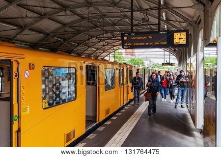 Berlin Germany - May 17 2016: U-Bahn Station Schlesisches Tor with unidentified people exceptionally richly designed from 1902 on first Berlin U-Bahn line erected by Siemens and Halske company