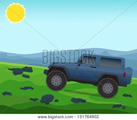 Off road journey, car for bad roads, vector illustration