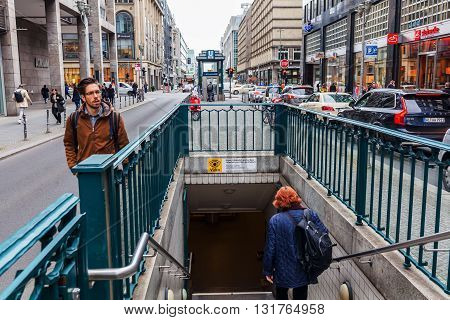 Berlin Germany - May 17 2016: street view of Friedrichstrasse with unidentified people. The Friedrichstraße is a major culture and shopping street in central Berlin.