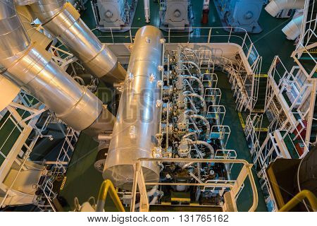 Engine room of the merchant cargo ship