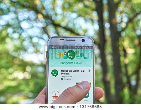 MONTREAL CANADA - MAY 23 2016 : Google Hangouts Dialer application on Samsung S7 screen. Hangouts Dialer -allows to make voice calls without Google voice.