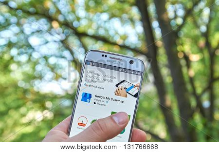 MONTREAL CANADA - MAY 23 2016: Google My Business app on Samsung S7 screen. The app helps to verify business information manage customer reviews get custom insights and build business brand
