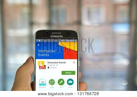 MONTREAL CANADA - MAY 23 2016 : Google Evevnts application on Samsung S7 screen. The Interactive Events App allows guests to find speaker and agenda information.