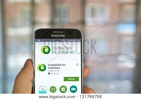 MONTREAL CANADA - MAY 23 2016 : Google DoubleClick for publishers application on Samsung S7 screen. DoubleClick offers publishers a complete ad revenue engine.