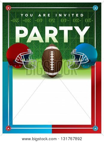 An American football party invitation flyer template design with room for copy. Vector EPS 10 available.