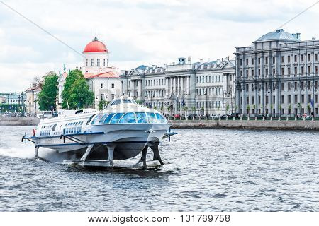 St.Petersburg Russia - May 17 2016: passenger boat floating by Neva river. View to Petrograd Side.