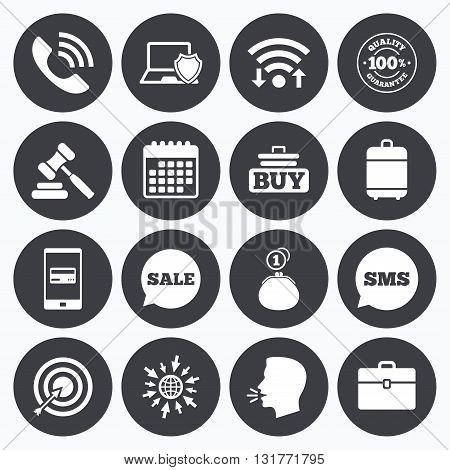 Wifi, calendar and mobile payments. Online shopping, e-commerce and business icons. Auction, phone call and sale signs. Cash money, case and target symbols. Sms speech bubble, go to web symbols.