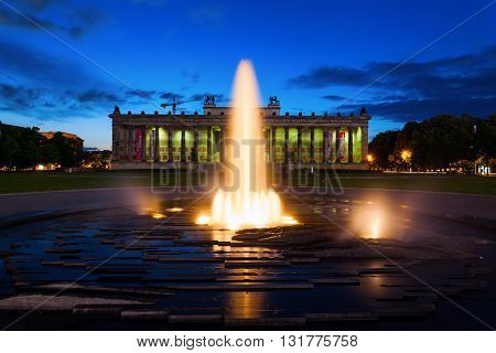 Berlin Germany - May 16 2016: night view of The Old Museum that is a museum on Museum Island in Berlin housing currently the antiquities collection of the Berlin State Museums