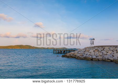Lifeguard observation tower station over the sea, natural landscape background