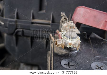 Car battery corrosion on terminalDirty battery terminals.(Before cleaning)