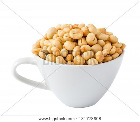 unroasted coffee beans in coffee cup isolated on white background with clipping path