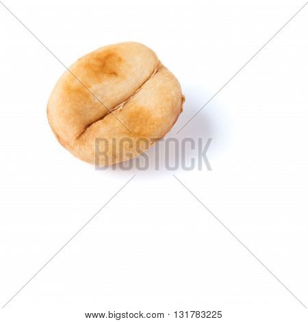 unroasted coffee bean isolated on white background with shadow