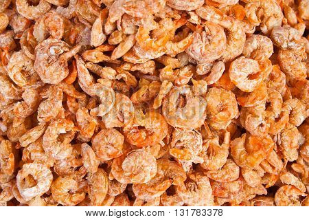 close up of dry shrimps for background