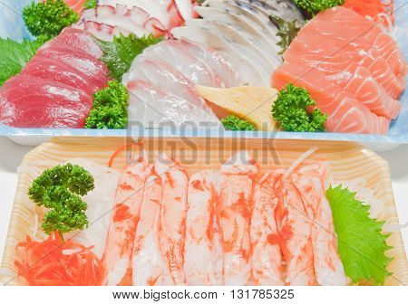 close up of mixed sashimi raw fish