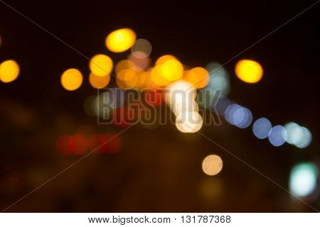 blur Night traffic road with bokeh light abstract background