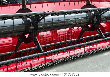 GOMEL BELARUS - MAY 19 2016: Fragment of self-propelled combine harvester