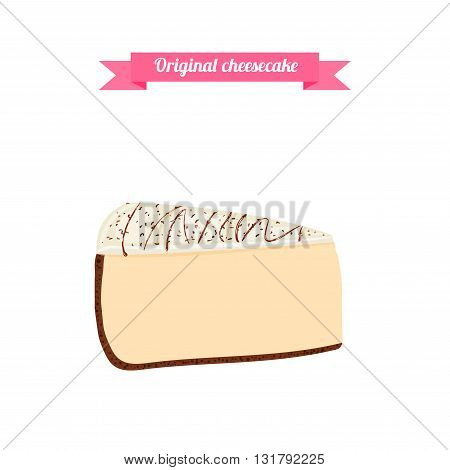 Piece of cake. Vector sliced portion of the original cheesecake. Isolated image of a delicious tasty cake on white background for menu design, coffee, confectionery