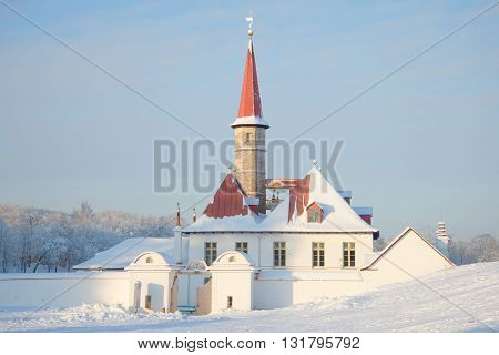 GATCHINA, RUSSIA - JANUARY 22, 2016: At the entrance in Priory Palace winter day. Main landmark of the city Gatchina, Russia