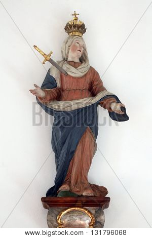 PRIMISWEILER, GERMANY - OCTOBER 20: Our Lady of Sorrows, church of St. Clement in Primisweiler, Germany on October 20, 2014.