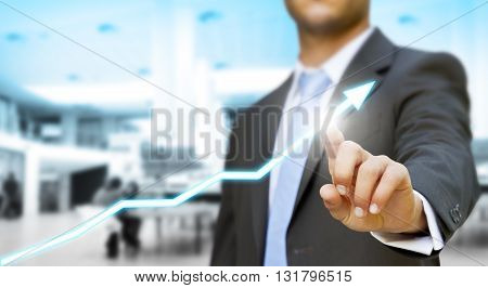 Businessman touching digital graph concept abstract background