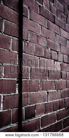 old, brick, wall, dark, red,stone damaged,lightning rod