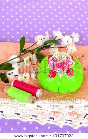 Felt pincushion with lot of pins for sewing. Easy sewing. Handmade pin cushion.