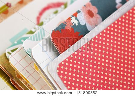 Paper samples with different patterns and colours