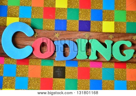 coding word on a   abstract colorful background
