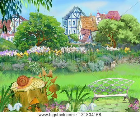Digital Painting Illustration of a Colorful Fairy Tale Park in the City. Cartoon Style Artwork Scene Story Background Card Design