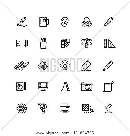 Graphic design tools, creative, office stationery line thin icons set. Tool stationery for office or art. Pencil and marker, instrument and highlighter graphic tools. Vector illustration