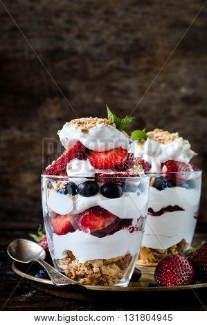 Photos of served dessert on rustic background