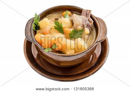Photos of stew soup isolated on white background