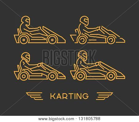 Line karting and go kart symbol. Silhouette figures kart racer. Linear sport symbol label and badge.