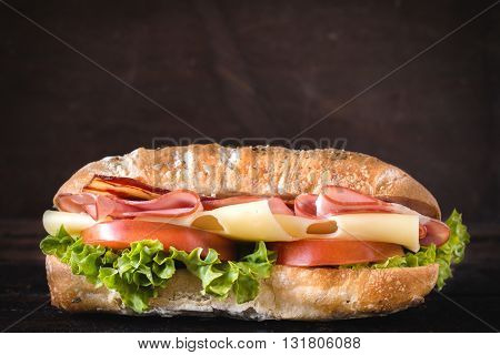 Photos of tasty sandwiche on rustic background