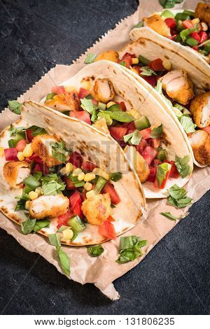Photos of tortilla wrap time on rustic background