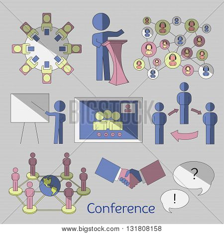 Conference icons set with business people workgroup communication isolated vector illustration